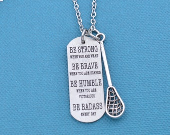 Lacrosse Necklace in silver toned metal with inspirational word tag.  Lacrosse necklace. Lacrosse gifts.  Lacrosse jewelry.  Lacrosse player