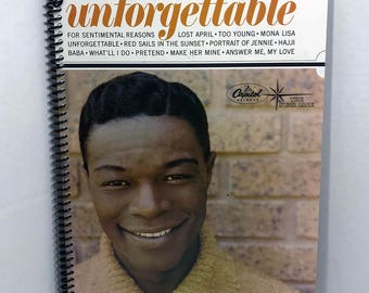 Nat King Cole Album Cover Notebook Handmade Spiral Journal - Unforgettable