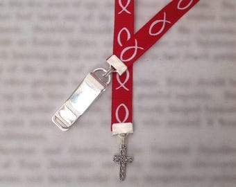 Cross bookmark with clip - Attach clip to book cover then mark the page with the ribbon. Never lose your bookmark!