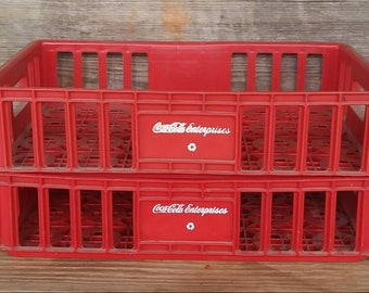 Authentic Vintage Red Plastic Coca Cola Crates Bottle Carriers
