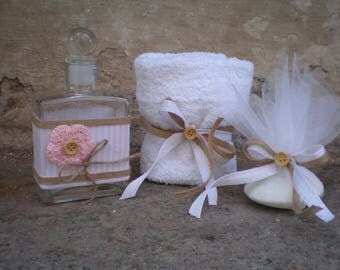 Greek baptismal set for girl -Oil bottle/soap/towel-Orthodox baptism