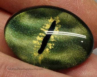 SALE - Green Dragon Eye  Glass Eye Cabochon 25x18mm Round Hand Painted