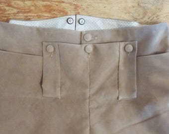 18th Century Moleskin Breeches, re-enactment & theatrical, Darcy Regency and Georgian, historical fall-front detail