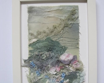 FRAMED EMBROIDERED LANDSCAPE - textile art, embroidery, embroidered art, embroidery, fibre art, landscape, textiles.