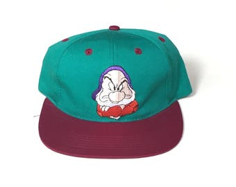 Grumpy snow white and the seven dwarfs yourh kids childrens Snapback Snap back Strapback hat One Size Adult Unisex twill