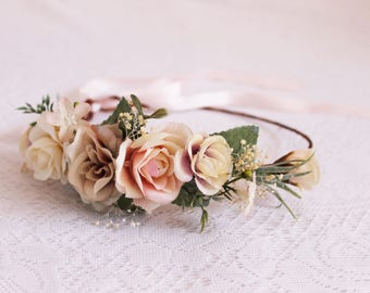 Pink, ivory, blue grey Flower Crown / greenery, pink, baby's breath, leaves, spring, floral, handcrafted, photoshoot