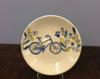 Handmade Lunch Plate, with Bicycle. Glazed in Clear with Underglaze Details. MA114