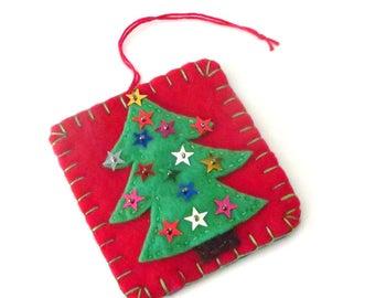 Christmas Tree ornament, Felt Christmas tree with Stars, Red, Blue, Felt Tree Hanging Ornament, Handmade Christmas