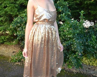 Summer Wedding Sale Sequin skirt custom made 'April' full pleated skirt with flat waistband street style sparkling separates