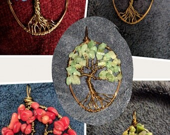 Handmade copper wire tree of life Necklaces