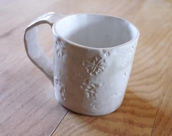 Hand built stoneware white mug : Artifact series