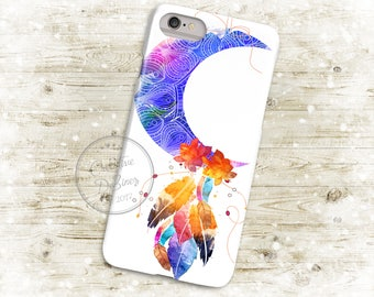 Boho Watercolor Feather Dreamcatcher, 3D Phone Case, Iphone 6 7 7+ Samsung Galaxy S5 Thin Hard Case, Personalized Mobile Full Wrap