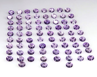 22.6 Cts 100% Natural African Amethyst Oval 75 Pcs Lot Purple Loose Gemstones