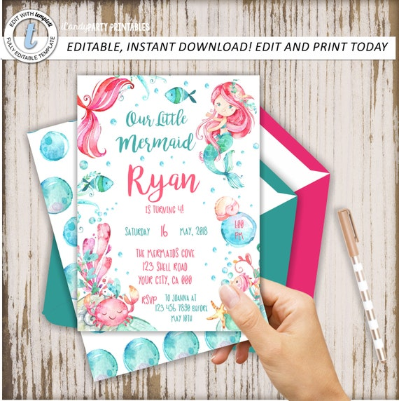 Mermaid invitation mermaid birthday invite mermaids little il570xn filmwisefo