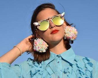 Iridescent cat eye embellished sunglasses