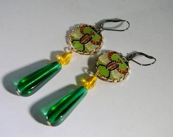 Egyptian Revival 1970's Glass Drop Earrings