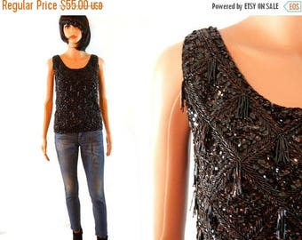 tempSALE 60's Hand Beaded Sequin Top Black Small Sweater Formal Bead Tassel Retro Vintage Blouse Sleeveless Wool 1960