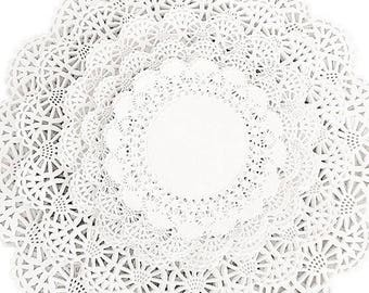 "100 ct. Variety Cambridge Paper Lace Doilies  4"", 5"", 6"", 8"", and 10"" White Doily Assortment Pack"
