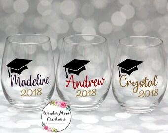 Graduation Stemless Wine Glass; College Graduate Wine Glass; Personalized Graduation Wine Glass; Class of 2018 Wine Glass; Grad Wine Glass