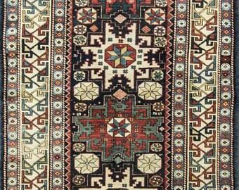 """3'3"""" x 5'8""""Stunning Antique Caucasian Lesghi Star Rug,Excellent Condition #15045"""