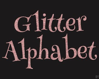 Rose Gold Glitter Alphabet Clipart Pink 81 Images PNG Files Letters Numbers Special Characters Commercial Use Graphics Digital Clip Art