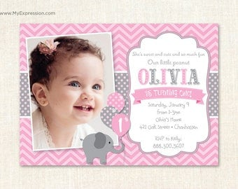Elephant First Birthday Invitations - Girl 1st Birthday Photo Invitations - Chevron and Polka Dots - Digital or Printed