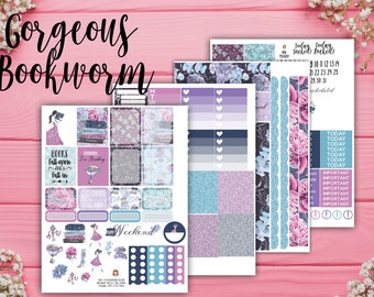 Gorgoeous Bookworm Planner Kit - for use with Erin Condren Planner - Happy Planner Kit - Flower Planner Stickers