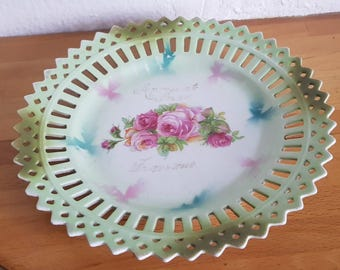 Vintage Pierced Decorative Cabinet Display Plate with Floral Design