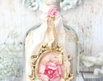 Shabby Chic Pink Rose Handmade Altered Bottle