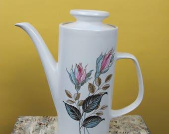 J and G Meakin Coffee Pot - Studio Pink Rose design. Elegant mid century modern styling!
