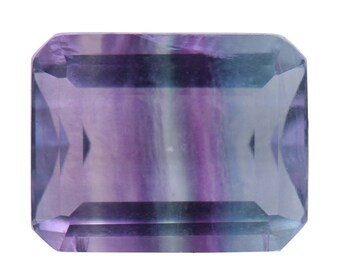 Bi-color Fluorite Loose Gemstone Octagon Cut 1A Quality 10x8mm TGW 3.40 cts.