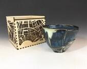 Winter Nights : Tea Bowl in Blue Iron Spot Glaze in a Maple Hardwood Box -  City Streets Series, Yunomi, Ceramic Art.  3 in tall, Food Safe.