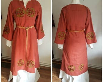 Viking Tunic Dress, Linen Tunic for Women, Medieval Tunic with Embroidery, LARP