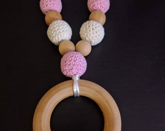 Crochet/Wood Teething/Nursing/Babywearing Necklace with Wood Ring - Safety Clasp and Nylon Cord