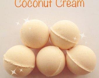 Sparkling Coconut scented bath bombs .Bath fizz, Moisturising bath products,