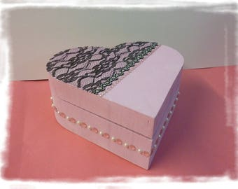 """P' little jewelry box baroque """"Heart happiness"""" painted wood, brushes, clips, headbands, jewelry box or not"""