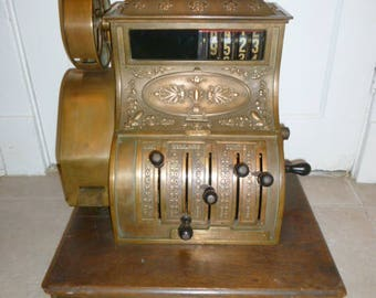 Rare antique heavy National oak brass copper cash register circa 1890s