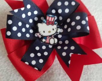 Patroitic Hello Kitty hair bow