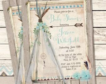 Boho Baby Shower Invitation, Blue, Teepee, Tribal Baby Shower Invite, Watercolor Flowers Invite, Rustic, Printable Invitation, 5x7