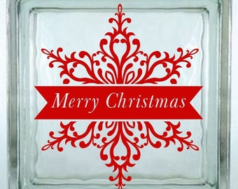Merry Christmas Snowflake Decal Sticker ~ Choose Decal Colors - No Background