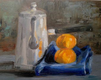 Still Life with Clementines, 9 x 12 oil painting
