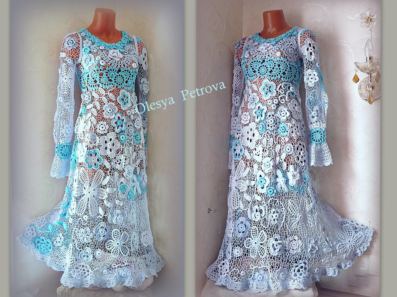 Irish lace wedding dress blue flowers ball gown edwardian for Blue irish wedding dress