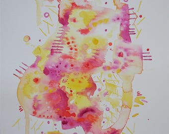 "Original Abstract/Modern Watercolor, ""Sherbet."""