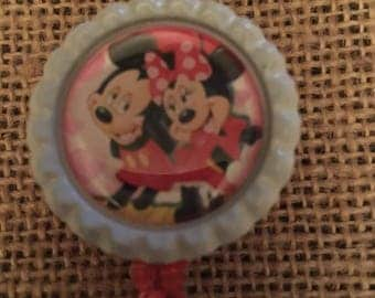 Mickey & Minnie Mouse inspired Bottlecap Retractable ID Badge Holder Name Tag Reel