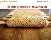 SALE FREE shipping for 5 x Rolling Pin engraved patterns ! SET of Any 5 Rolling Pins Choose any rolling pin you want