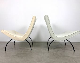 Pair Milo Baughman Scoop Lounge Chairs 1950's