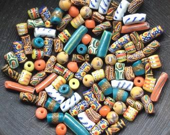 On Sale: 100 Loose African Powdered Glass Beads Mix. Ghana Krobo Beads.