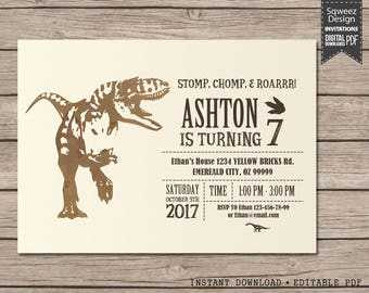 Dinosaur Birthday Invitation, Dinosaur Party, Dinosaur Birthday, Boy Birthday Invitation, Dinosaur Invite - Instant Download Editable PDF
