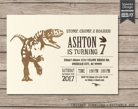 Dinosaur Invitation Dinosaur Birthday Party Dinosaur Birthday Boy