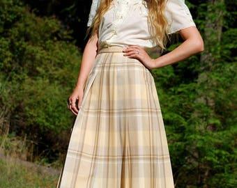 Summer SALE PENDLETON Pleated Midi Skirt, Vintage Wool Plaid Skirt, Buttercup Cream Beige High Waisted Wool Skirt, Preppy Teacher Secretary